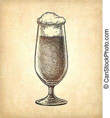 experiência., cerveja, papel, antigas, vidro