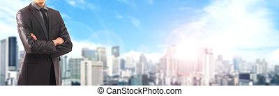 experiência., city., blurry, homem negócios