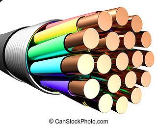 experiência., close-up, elétrico, branca, cabo