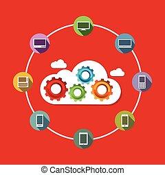 experiência., concept., tecnologia, nuvem, computando