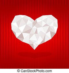 experiência., coração, origami, vermelho