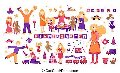 experiência., crianças, jogo, vetorial, rockets., nanny., babá, brinquedo, ilustração, chá, isolado, school., loja, bonecas, cobrança, objetos, meninos, jardim infância, branca, carros, jogo, aviões, desenhista, pessoas, meninas