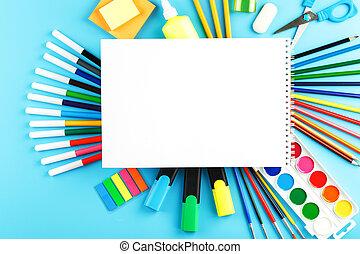 experiência., criativo, aprendizagem, desenvolvimento, azul, materiais, jogo, escola