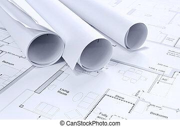 experiência., desenhos, arquitetônico