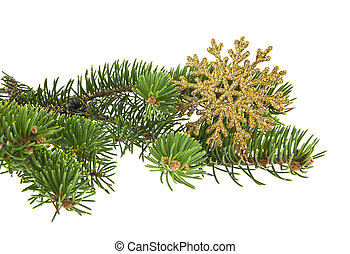 experiência dourada, árvore, isolado, natal, ramo, snowflake branco