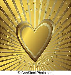 experiência dourada, com, coração