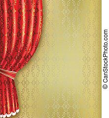 experiência dourada, com, cortina vermelha, e, padrão