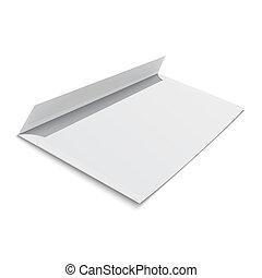 experiência., envelope branco, em branco
