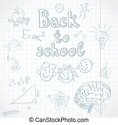 experiência., escola, costas