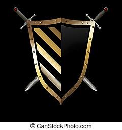 experiência., espadas, escudo, ouro, pretas