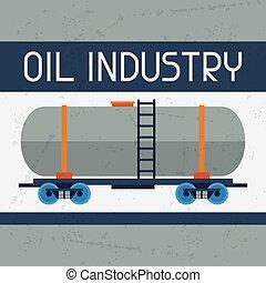 experiência., estrada ferro, tanque óleo