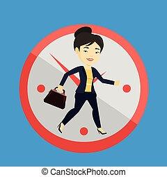 experiência., executando, negócio mulher, relógio