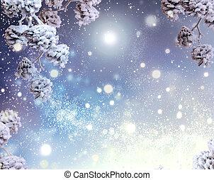 experiência., feriado, snowflakes, neve, inverno