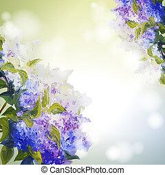 experiência., flores, lilás