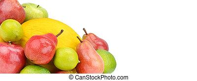 experiência., frutas, livre, isolado, branca, seu, text., photo., largo, espaço