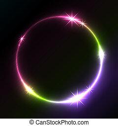 experiência., glowing, vetorial, círculo, coloridos