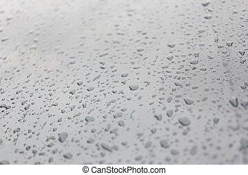 experiência., gotas, chuva, vidro