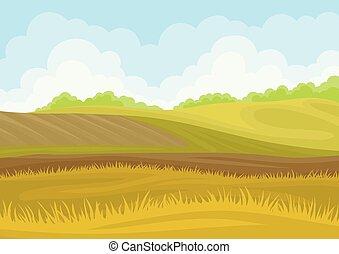 experiência., hills., arado, ilustração, campo, vetorial, branca