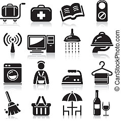 experiência., hotel, pretas, ícones