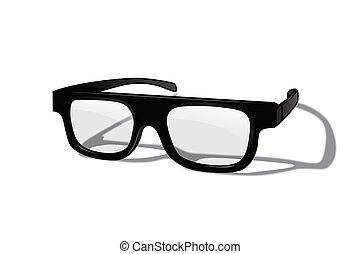 experiência., isolado, realístico, vetorial, desenho, branca, element., óculos