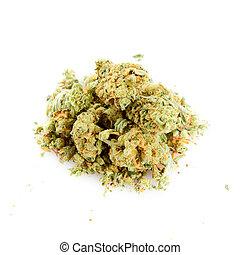 experiência., médico, branca, marijuana, isolado