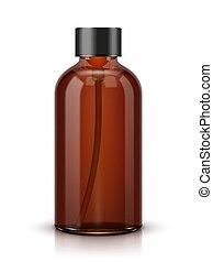 experiência marrom, cosmético, isolado, garrafa, branca, perfume, ou
