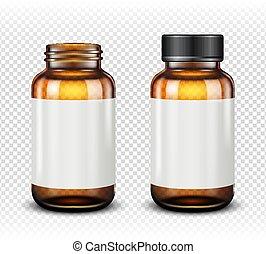experiência marrom, isolado, garrafa copo, medicina, transparente