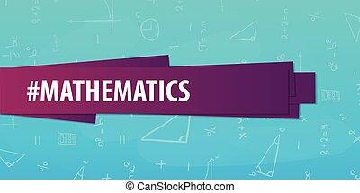 experiência., matemática, costas, escola, banner., subject., educação