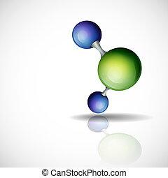 experiência., molécula, 3d