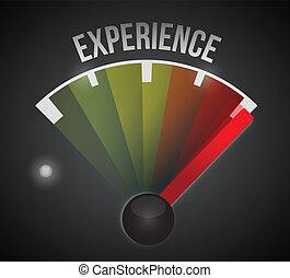 experiência, nível, medida, medidor, de, baixo, para, alto