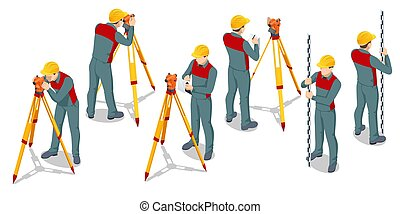 experiência., nível, theodolite., medindo, isolado, profissional, isometric, tripé, leva, construção, theodolite, equipamento, agrimensor, examinar, engenheiro, branca, medidas, ferramenta