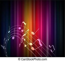 experiência., notas, colorido, musical