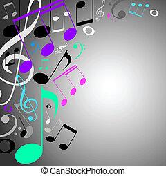 experiência., notas, musical