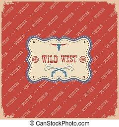 experiência., oeste, selvagem, etiqueta