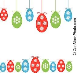 experiência., ovos, páscoa, branca, ramo