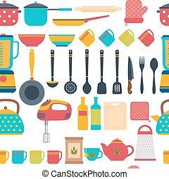 experiência., padrão, cozinhar, seamless, utensílios, ferramentas, cozinha