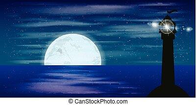 experiência., paisagem, céu noite, lua, baliza, sinal