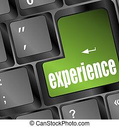 experiência, palavra, botão, ligado, teclado, com, foco...