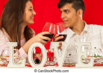 experiência., par, tabela, jantar romântico