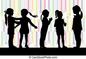 experiência., silhuetas, meninas, colorido, pretas