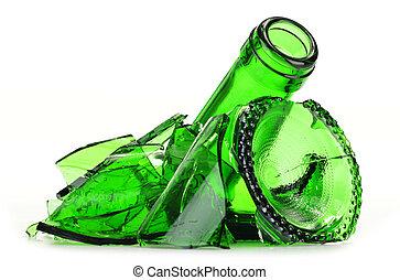 experiência., sobre, reciclagem, pedaços, vidro, quebrada, branca