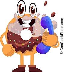 experiência., telefone, ilustração, donut, vetorial, branca