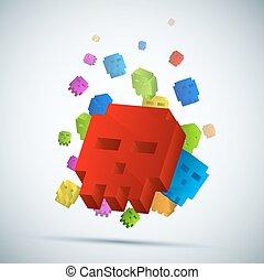 experiência., tridimensional, cranio, pixel