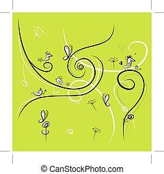 experiência verde, com, engraçado, pássaros, para, seu, desenho