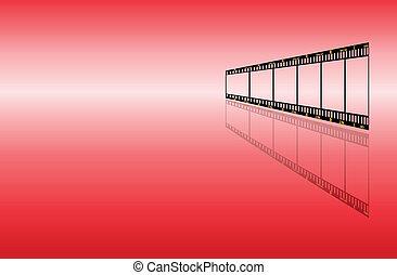 experiência vermelha, com, filmstrip
