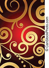 experiência vermelha, com, ouro, ornamento