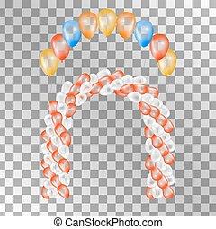 experiência., vetorial, balões, transparente, ilustração