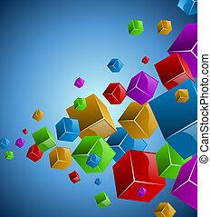 experiência., vetorial, coloridos, cubos