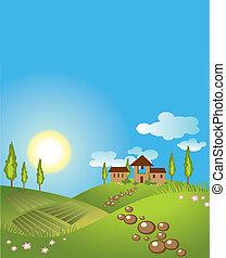 experiência., vetorial, paisagem verde