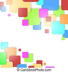 experiência., vetorial, quadrados, coloridos